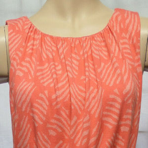 CORAL PINK ABSTRACT KNIT CASUAL BLOUSON DRESS SZ:S